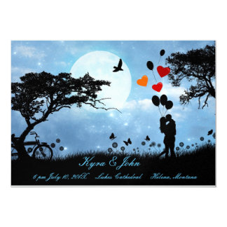 Scenic love under the moon wedding card