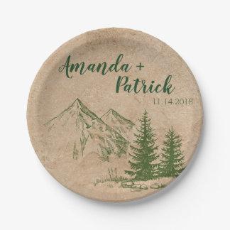 Scenic Mountain Range Wedding Paper Plate