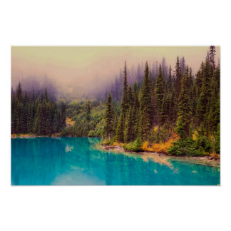 Scenic Northern Landscape with Pine Trees Rustic Poster