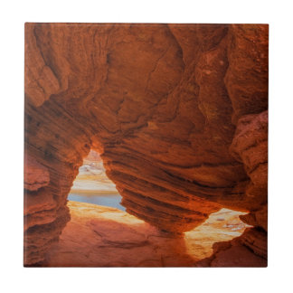 Scenic of eroded sandstone cave ceramic tile