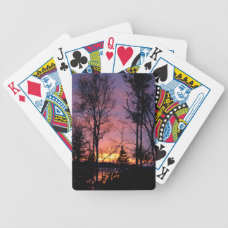 Scenic Pink and Orange Sunset Bicycle Playing Cards