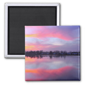 Scenic Pink Landscape 2 Inch Square Magnet