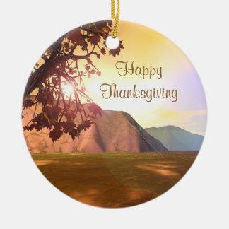 Scenic Thanksgiving Round Ceramic Decoration