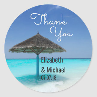 Scenic Tropical Beach Wedding Thanks Classic Round Sticker