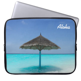 Scenic Tropical Beach with Thatched Umbrella Laptop Sleeves