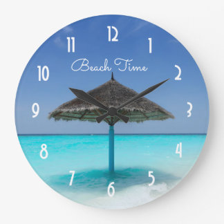Scenic Tropical Beach with Thatched Umbrella Large Clock
