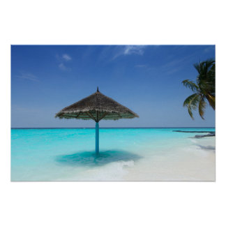 Scenic Tropical Beach with Thatched Umbrella Poster