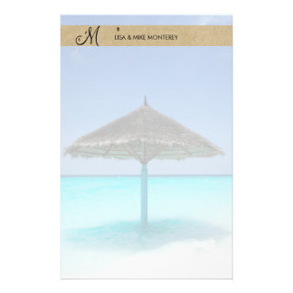 Scenic Tropical Beach with Thatched Umbrella Stationery