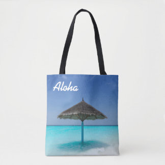 Scenic Tropical Beach with Thatched Umbrella Tote Bag