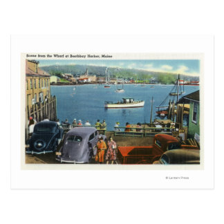 Scenic View from the Wharf, Boats and Cars Postcard