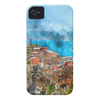 Scenic view of colorful village Vernazza and ocean iPhone 4 Cover