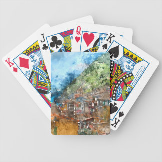 Scenic view of colorful village Vernazza and ocean Poker Deck
