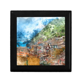 Scenic view of colorful village Vernazza and ocean Small Square Gift Box