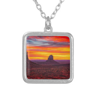 Scenic View of Sunset over Sea Silver Plated Necklace