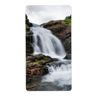 Scenic waterfall in mount cold river shipping label