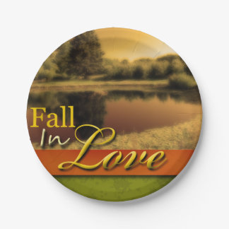 Scenic Wedding Fall In Love Autumn Rustic Photo 7 Inch Paper Plate