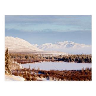 Scenic winter landscape at Lake Laberge, Yukon Postcard