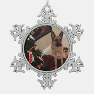 Schäfer julkort snowflake pewter christmas ornament