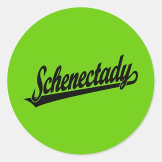Schenectady script logo in black round sticker