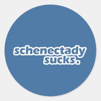 Schenectady Sucks. Round Sticker