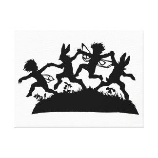 Scherenschnitte Bunnies Fairies Paper Cutting Art Canvas Print
