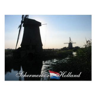 Schermerhorn Polder Windmills Holland Postcard