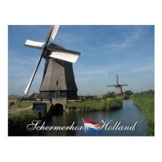 Schermerhorn Windmills Holland Postcard