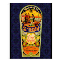 SCHIEDAM Gin Whiskey Label from Rotterdam Hollan