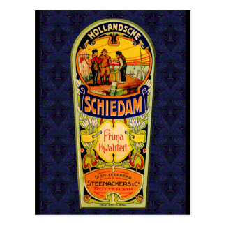 SCHIEDAM Gin Whiskey Label from Rotterdam Hollan Postcard