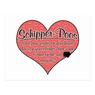 Schipper-Poo Paw Prints Dog Humor Postcard