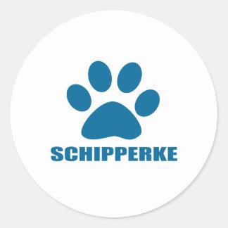 SCHIPPERKE DOG DESIGNS CLASSIC ROUND STICKER