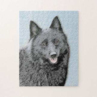 Schipperke Painting - Cute Original Dog Art Jigsaw Puzzle