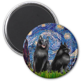 Schipperkees (two,5&6) - Starry Night 6 Cm Round Magnet