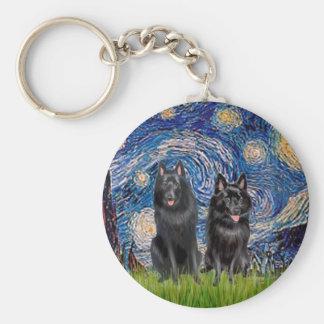 Schipperkes (two) - Starry Night Key Ring