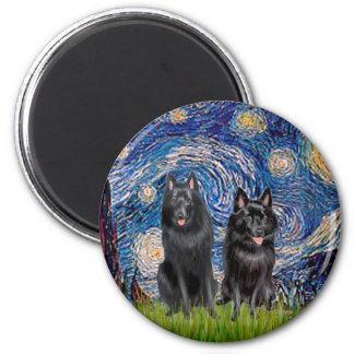 Schipperkes (two) - Starry Night 6 Cm Round Magnet