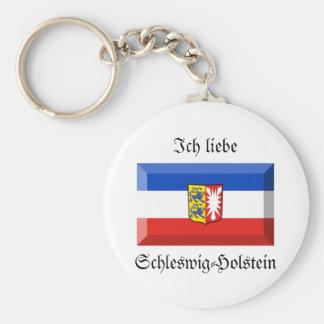 Schleswig-Holstein Flag Gem Basic Round Button Key Ring