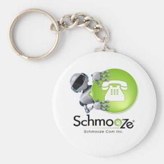 Schmooze Bot Peeking From Behind Logo Basic Round Button Key Ring