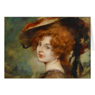 Schmutzler Lady with Red Hair and Hat Card