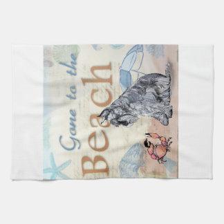 Schnauzer Beach Tea Towel