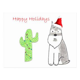 Schnauzer Cactus Christmas Postcard