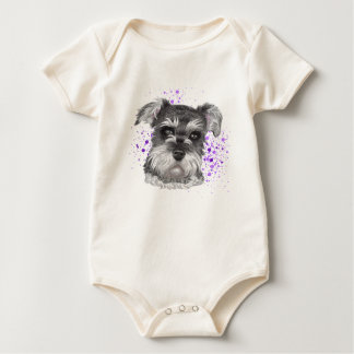 Schnauzer Dog Drawing Baby Bodysuit
