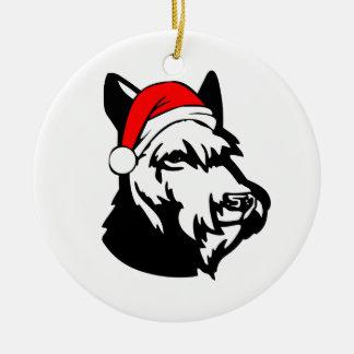 Schnauzer Dog with Christmas Santa Hat Round Ceramic Decoration
