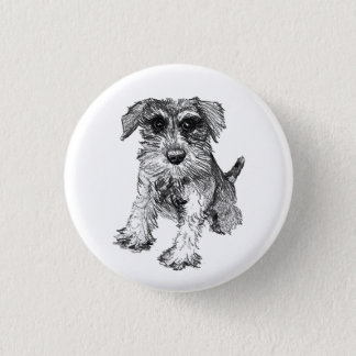 Schnauzer Drawing on Button