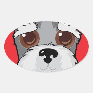Schnauzer Face Oval Sticker