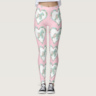 Schnauzer Flower and Hearts Leggings