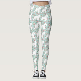 Schnauzer Flower Leggings