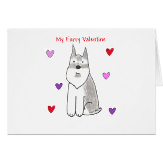 Schnauzer Furry Valentine Card