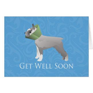 Schnauzer Get Well Soon Design Greeting Card