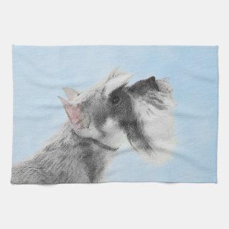 Schnauzer (Giant, Standard) 2 Painting - Dog Art Tea Towel