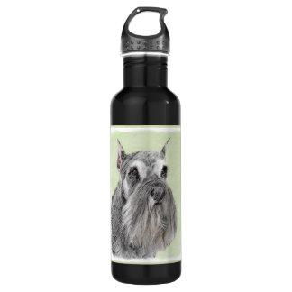 Schnauzer (Giant, Standard) Painting - Dog Art 710 Ml Water Bottle